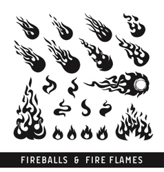 Fireballs and flame silhouette icons vector