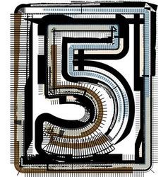 Grunge Font NUMBER 5 vector image