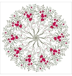 Hand drawing floral holly mandala zentangle vector