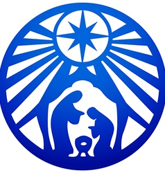 Holy family christian silhouette icon blue white vector