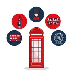 Isolated london telephone and icon set design vector image vector image