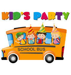 Kids with party hats on the bus vector