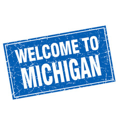 Michigan blue square grunge welcome to stamp vector