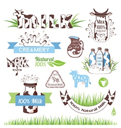 Milk and dairy products emblems set vector