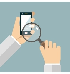 Mobile phone hands magnifying glass search icons vector