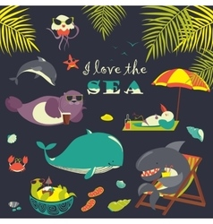 Set of cute sea animals on resort vector