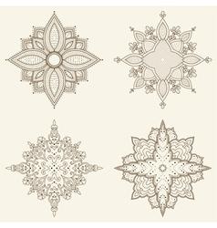 Set of four mandalas Beautiful hand drawn flowers vector image vector image