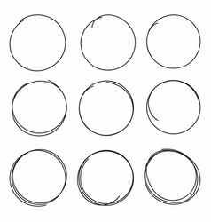 set of hand drawn scribble circles isolated on vector image vector image