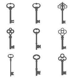 Set of nine keys silhouettes vector image vector image