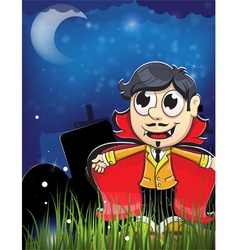 Vampire boy on a night cemetery vector