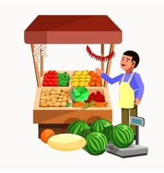 Vegetables and fruits product seller at the vector image vector image