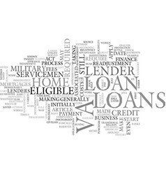 what are va loans text word cloud concept vector image vector image