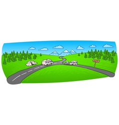 Towing caravan on the road vector