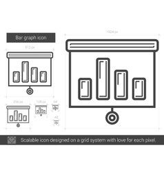 Bar graph line icon vector