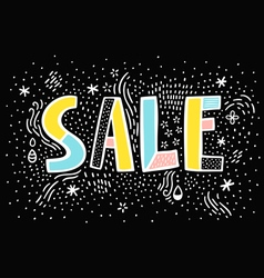Sale doodle sign on black background vector