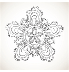 Fantasy flower black and white lace pattern vector