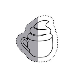 Sticker shading silhouette cup of cappuccino with vector