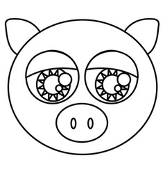 Sketch silhouette face cute pig animal with big vector