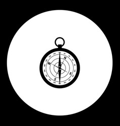 Magnetic compass simple black isolated icon eps10 vector