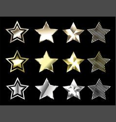 Stars of precious metals vector