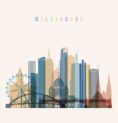melbourne skyline detailed silhouette vector image
