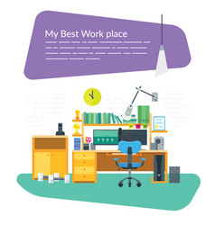 Workplace with two monitors vector