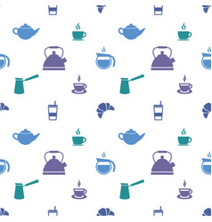 Pattern with colorful coffee cup and tea cup icons vector