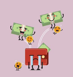 happy money jumping out of desperate wallet vector image