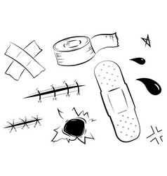Adhesive bandages set medical and healthcare vector