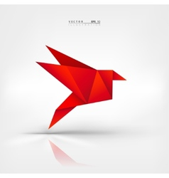 Origami paper bird on abstract background vector