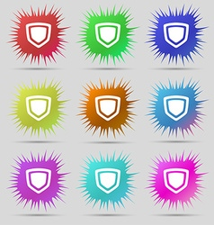 Shield icon sign a set of nine original needle vector