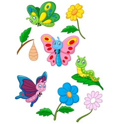 Cartoon butterfly caterpillar and cocoon vector