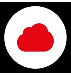 Cloud flat red and white colors round button vector