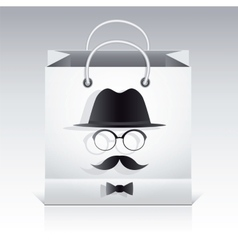 Shopping bag with man face image on it vector
