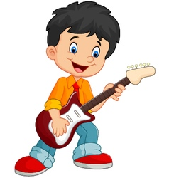 Cartoon child play guitar vector image