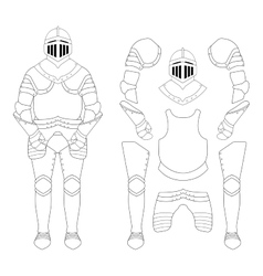 Medieval knight armor set contour vector