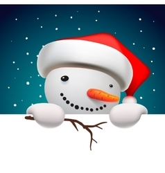 Cute snowman holding white page christmas card vector
