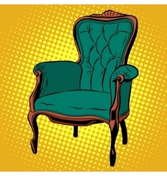 Green soft chair furniture armchair vector