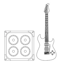 Electric guitar and amplifier vector