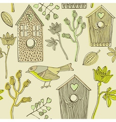 Retro bird house pattern vector