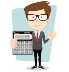 Accountant with a calculator vector