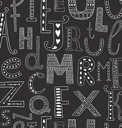 background with hand drawn alphabe vector image