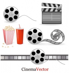 big group with cinema elements vector image vector image