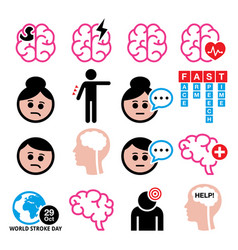 Brain stroke health medical icons set vector