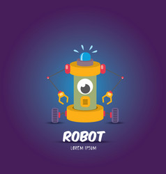 Cartoon flat robot or cyborg vector