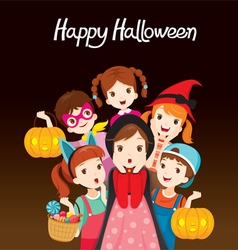 Children happy halloween together vector