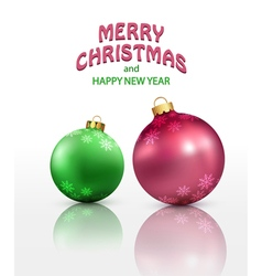 christmas background with two isolated balls vector image vector image