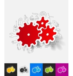 cogwheel paper sticker with hand drawn elements vector image