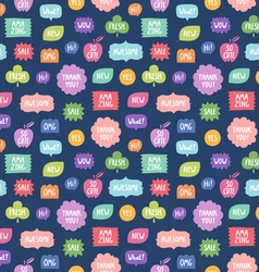Colorful phrases repeat pattern on blue background vector