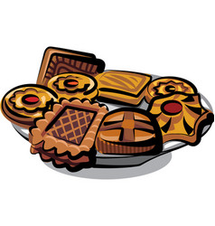 Cookies on plate vector